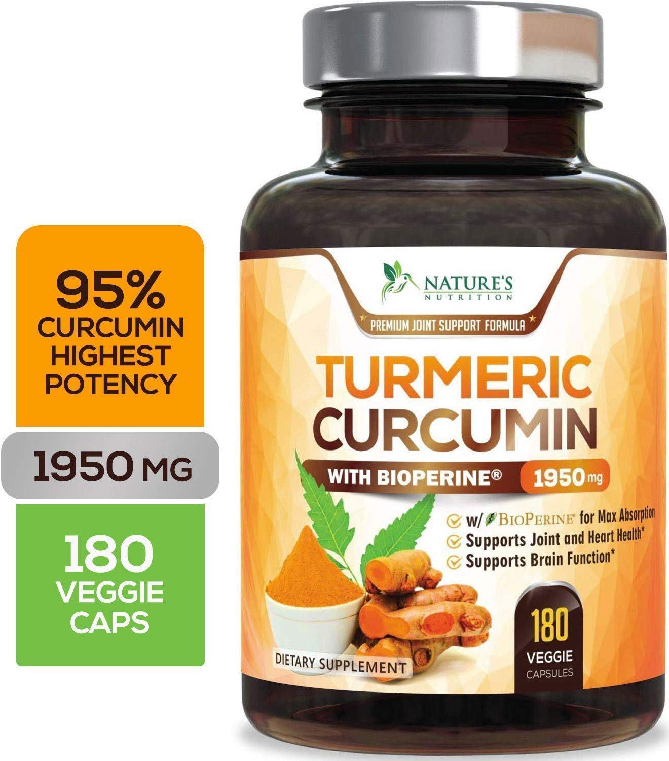 Turmeric Curcumin Highest Potency 95% Standardized Curcuminoids 1950mg with Bioperine for Best Absorption, Made in USA, Best Vegan Joint Pain Relief Turmeric Pills by Natures Nutrition - 180 Capsules