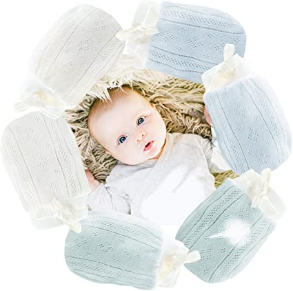 4 Pair Different Color Newborn Baby Mittens Baby Anti Scratching Gloves Boy Girl Accessories Adjustable Gloves Mittens for Baby Care