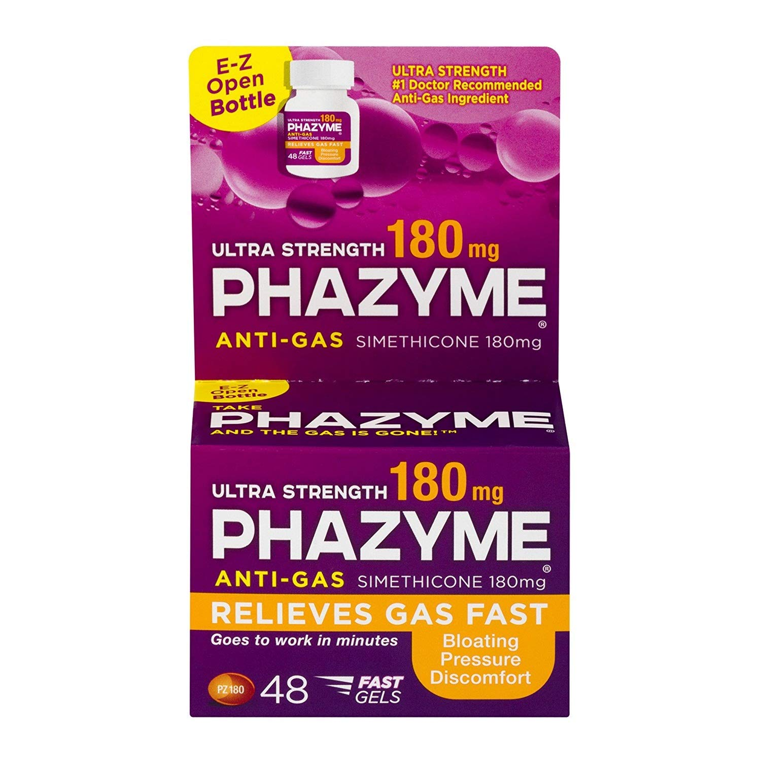 Phazyme Anti-Gas Ultra Strength 180 mg Softgels - 48 ct, Pack of 3 by Phazyme