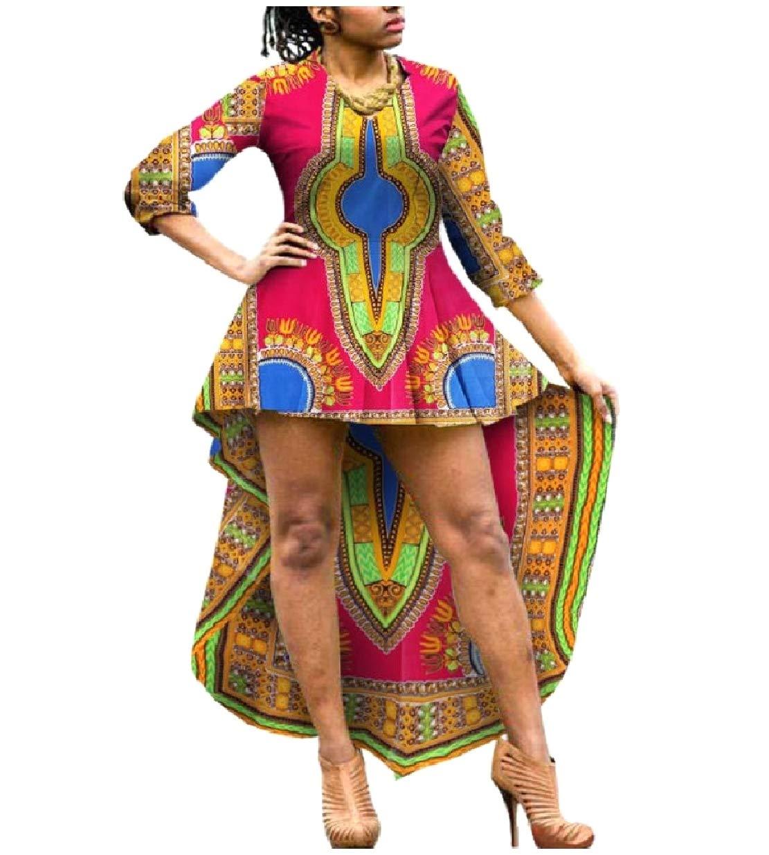 NestYu Women Asymmetry 100% Cotton Dashiki African Printed Classy Dress Rose Red M