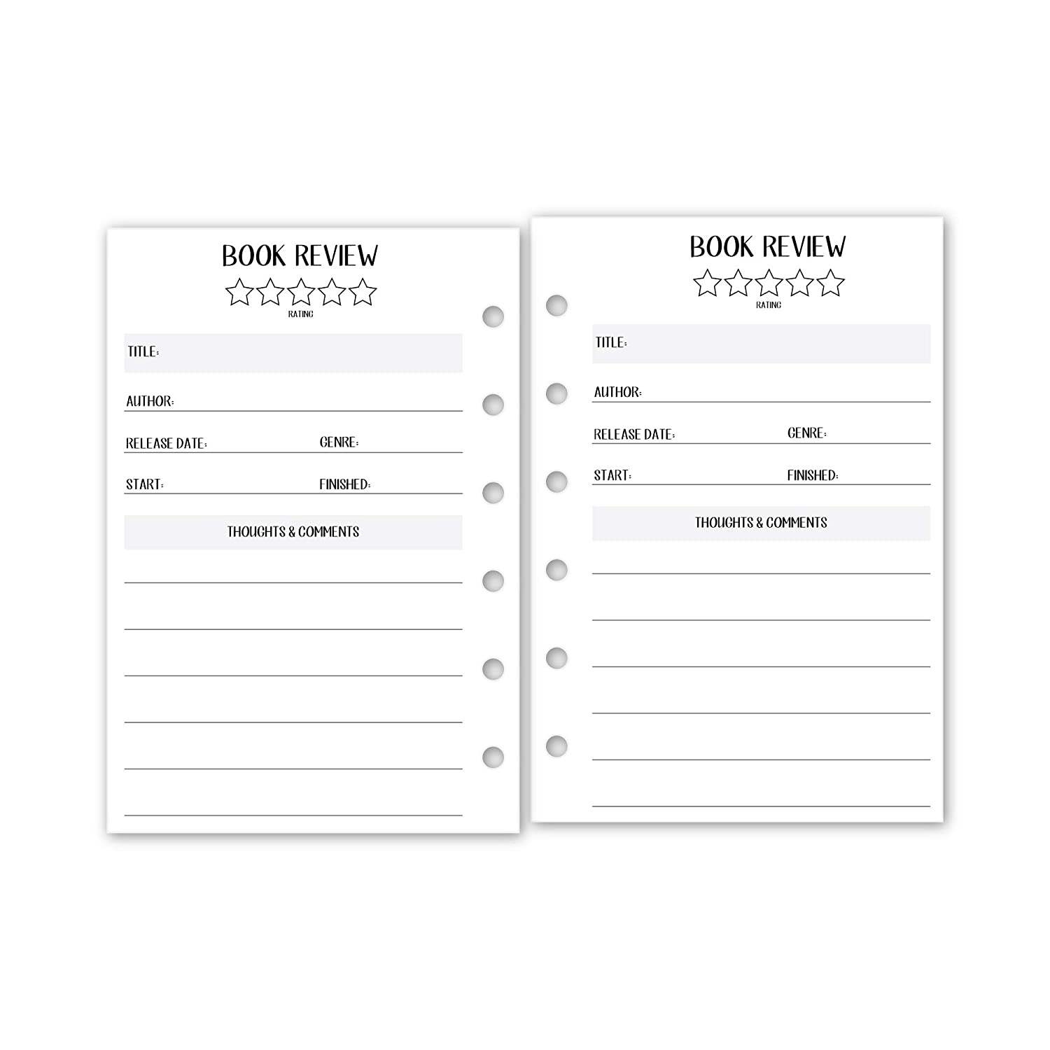 15 Double-Sided sheets fits six-ring binders Pocket size Book Review Planner insert