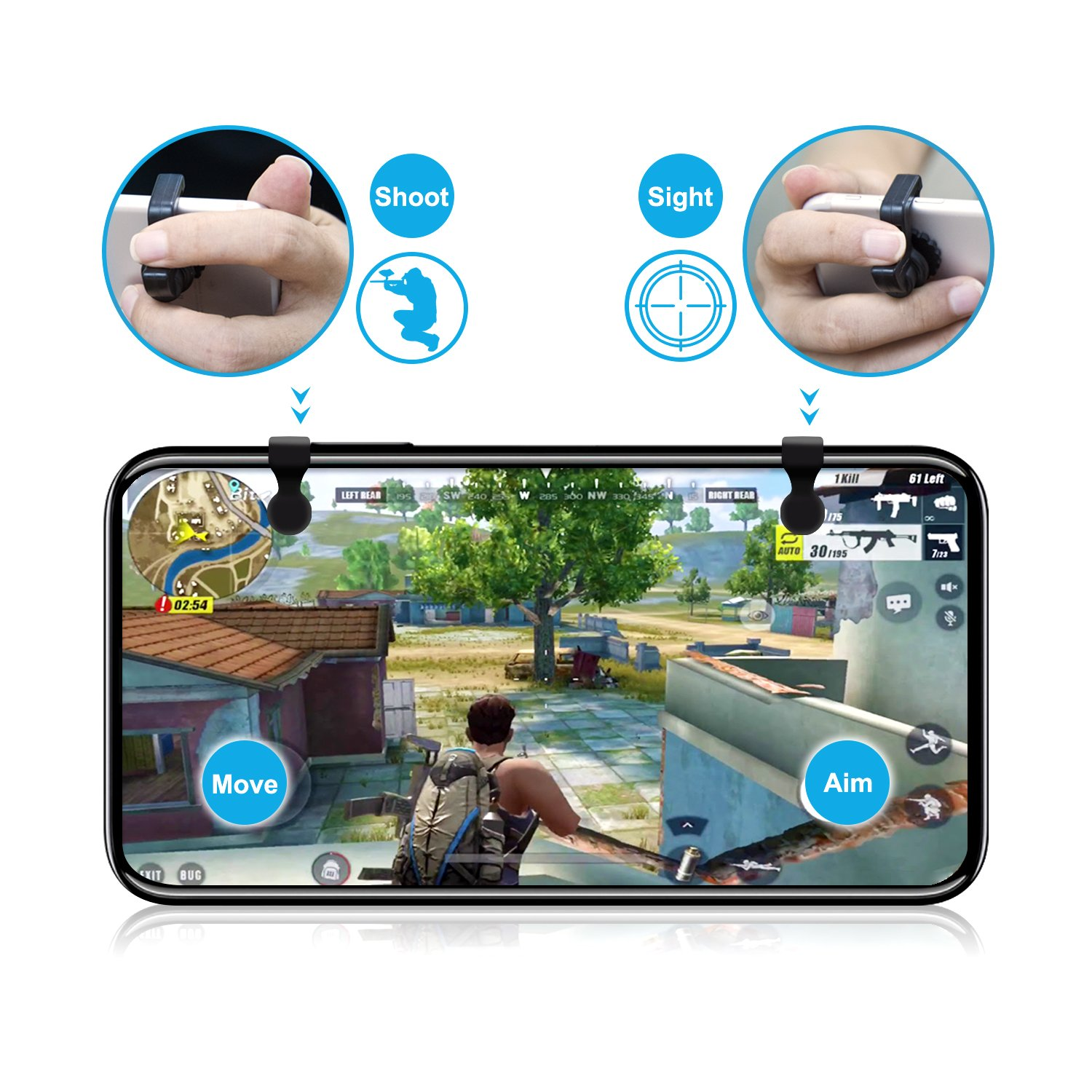 2Pairs -White Mobile Game Controller Fit for 4.5-6.5 Inch Android//iPhone Keten Highly Sensitive Sharpshooters Triggers Aiming Controllers for PUBG//Knives Out//Rules of Survival Upgraded Version