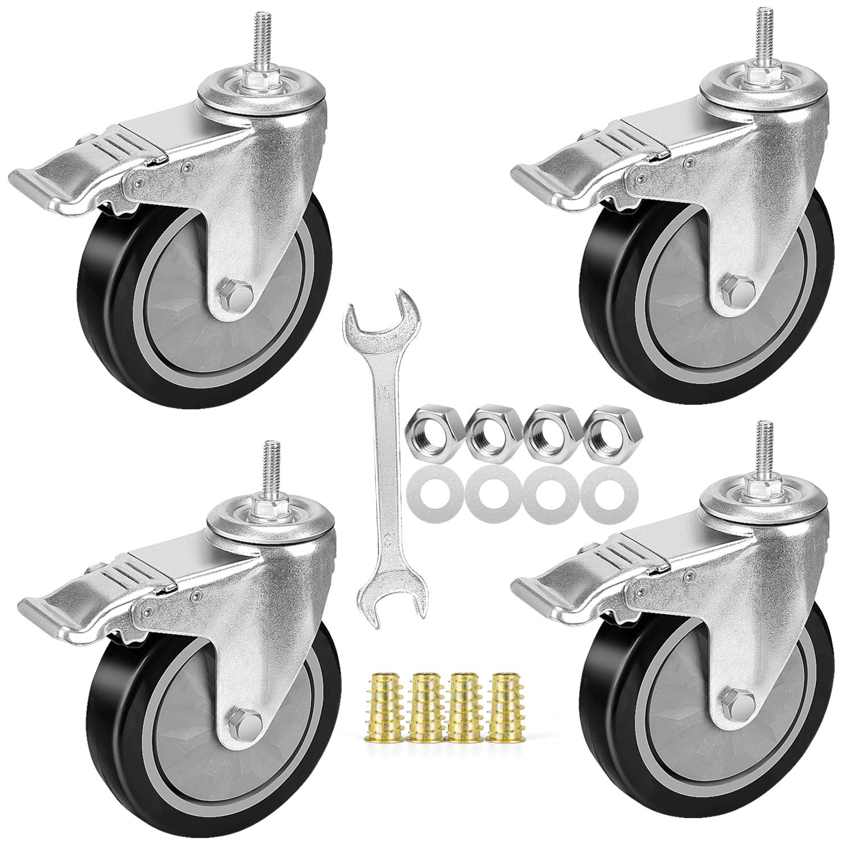 "3STCUS-500 3/"" Swivel Caster Polyurethane Wheel 5//16-18 x 1-1//2 Threaded Stem"