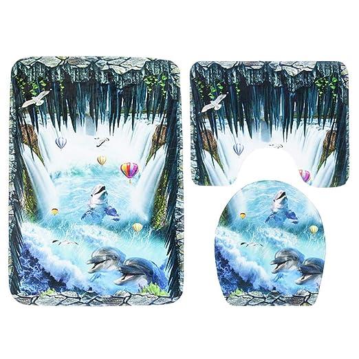 Amazon.com: DZX Bathroom Floor Mat Set Toilet Seat Three-Piece Non-Slip Mat Flower Carpet Ocean Decoration,Blue: Home & Kitchen
