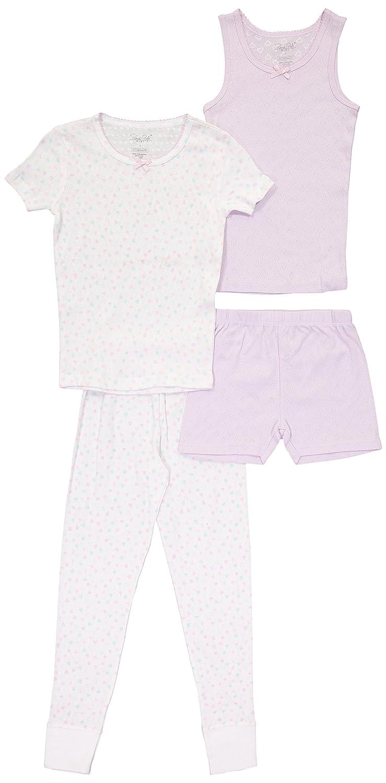 Girls Short Sleeve Pajama With Tank Top Shorts and Pants 4PC Sleepwear Set