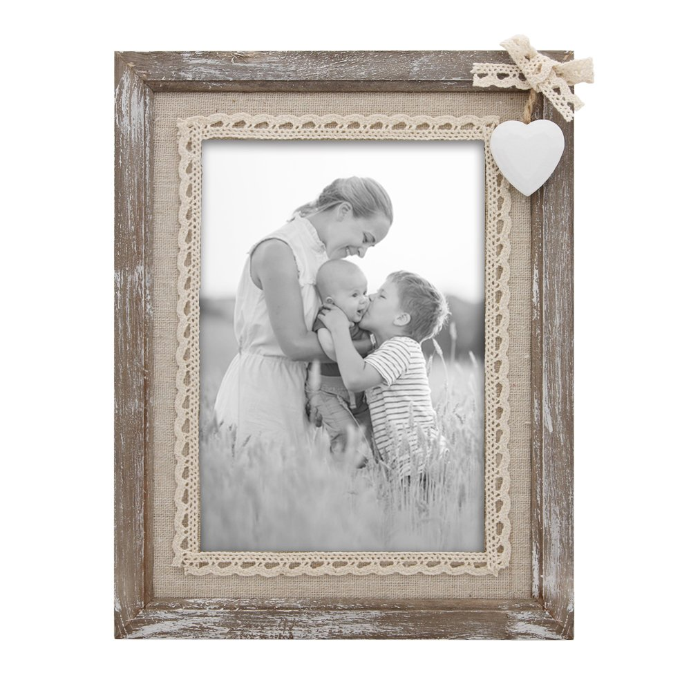Afuly Distressed Wood Picture Frame 5x7 with Wooden White Heart Rustic Love Photo Frames Burlap Unique for Grandma Wedding Gifts by Afuly