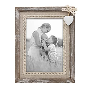 Afuly Distressed Wood Picture Frame 5x7 with Wooden White Heart Rustic Love Photo Frames Burlap Family Christmas Gifts