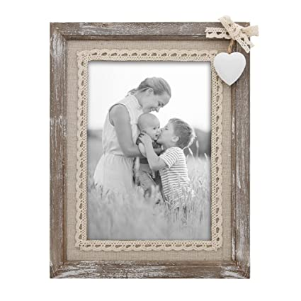 Amazon.com - Afuly Distressed Wood Picture Frame 5x7 with Wooden ...