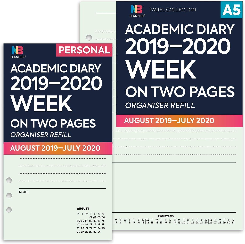 95 x 171 mm NBplanner/® Agenda scolaire 2019-2020 Semainier sur deux pages Menthe lign/é Organiseur Recharge Planner Insert Filofax Compatible Personal