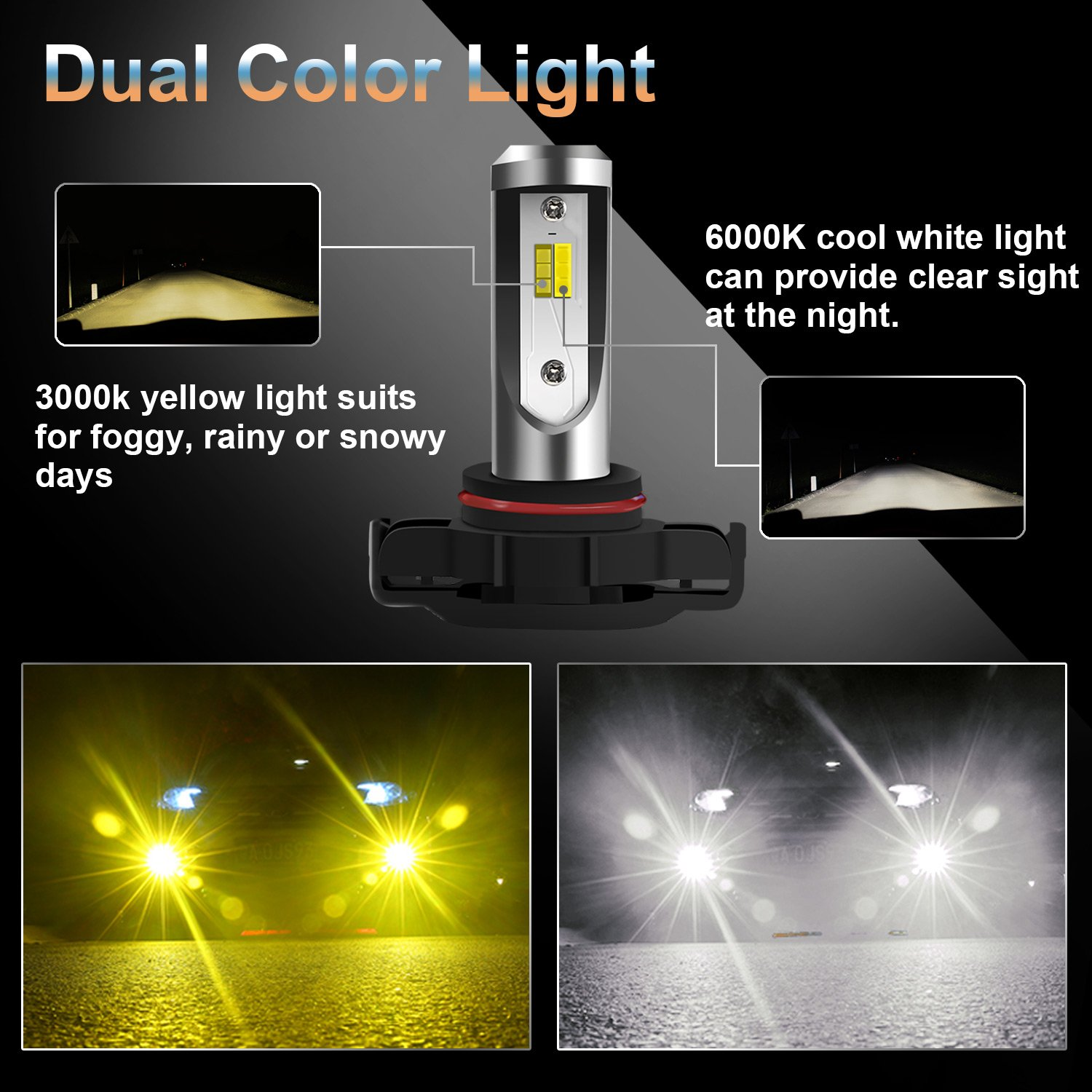 Win Power PSX24w / 5202 Fog Light H16 Led Headlight Bulb Conversion Kit Dual Color For Jeep Grand Cherokee Wrangler Trucks Cars DRL Lights Kit Replacement Bulb 3000K Yellow 6000K White (Pack of 2) by Win Power (Image #2)