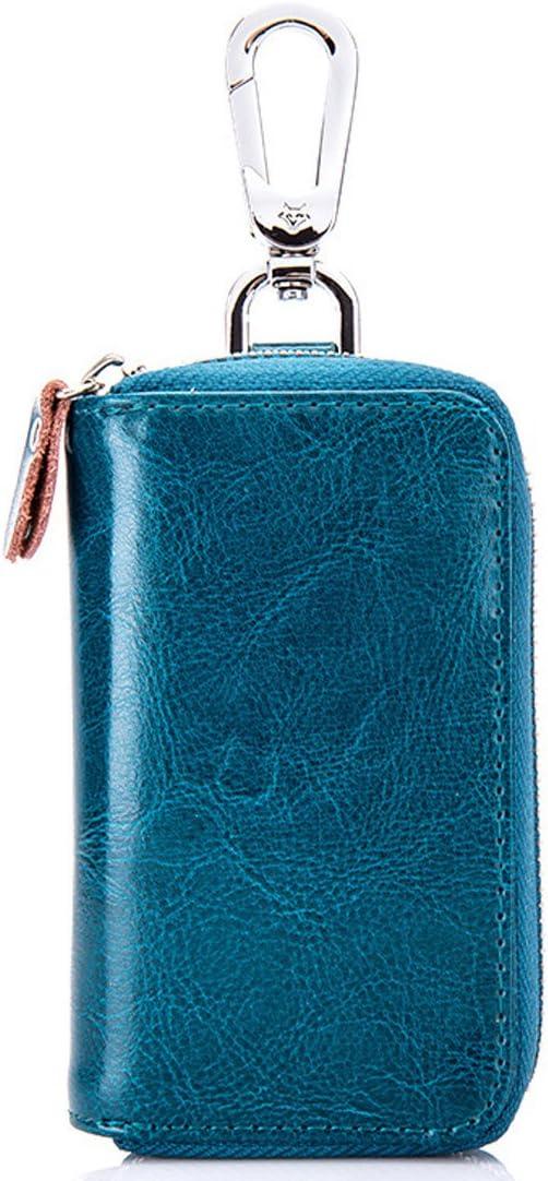 color Peacock Blue esdrem Unisex coche caso clave Holder con 8/ganchos para llaves coche Llavero tipo cartera con cremallera de piel aut/éntica