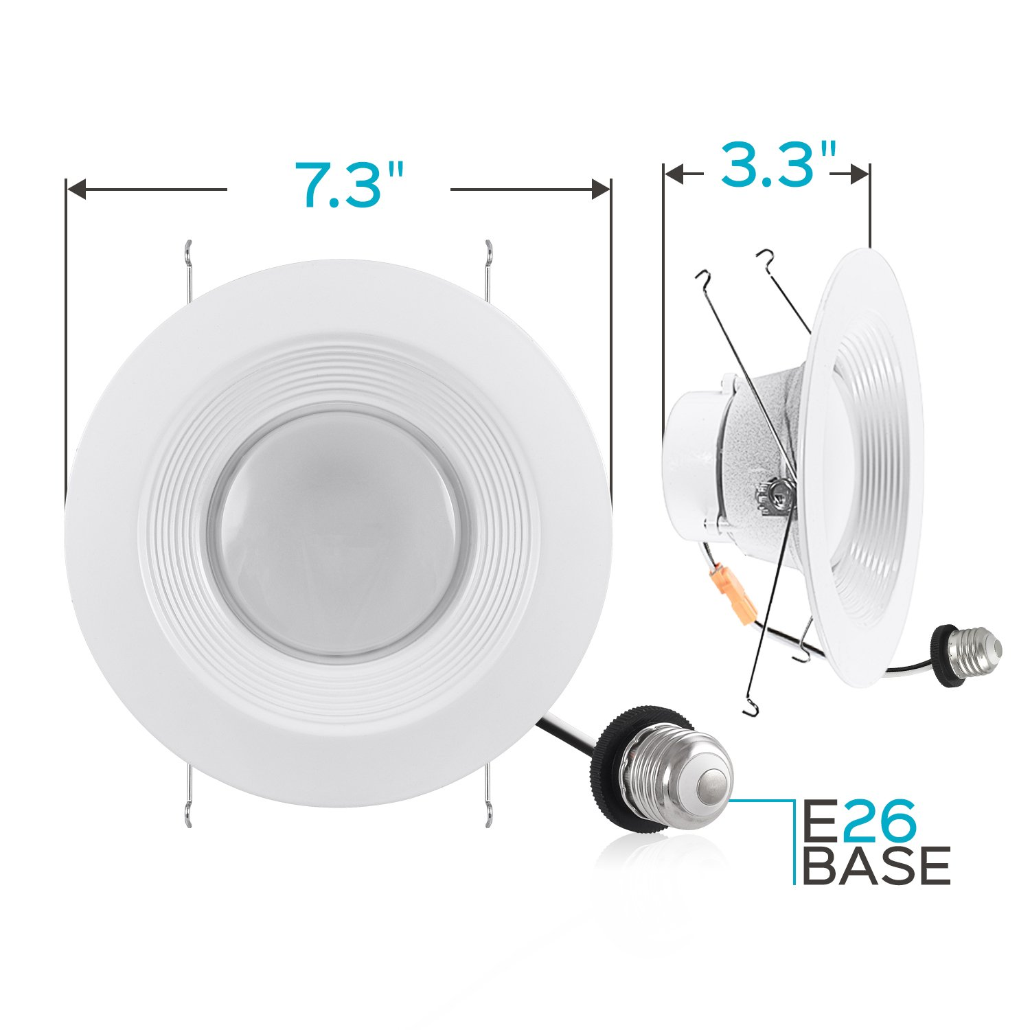 Luxrite 5/6 Inch LED Recessed Light, 15W (120W Equivalent), 5000K Bright White, 1300lm, Dimmable, Retrofit LED Can Light, Energy Star & UL, Damp Rated - Perfect for Kitchen, Bathroom, Office (4 Pack) by Luxrite (Image #5)