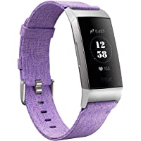 Karei Woven Bands Compatible with Fitbit Charge 3/Charge 3 SE, Soft Accessory Sports Band Replacement Strap Small Large for Fitbit Charge 3 Fitness Activity Tracker Women Men (Lavender, Small)