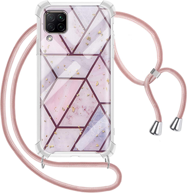 2ndSpring Funda con Cuerda Compatible con Huawei P40 Lite 5G//Nova 7SE,Colgante Collar Correa de Cuello Cadena Cord/ón,Arcoiris Azul