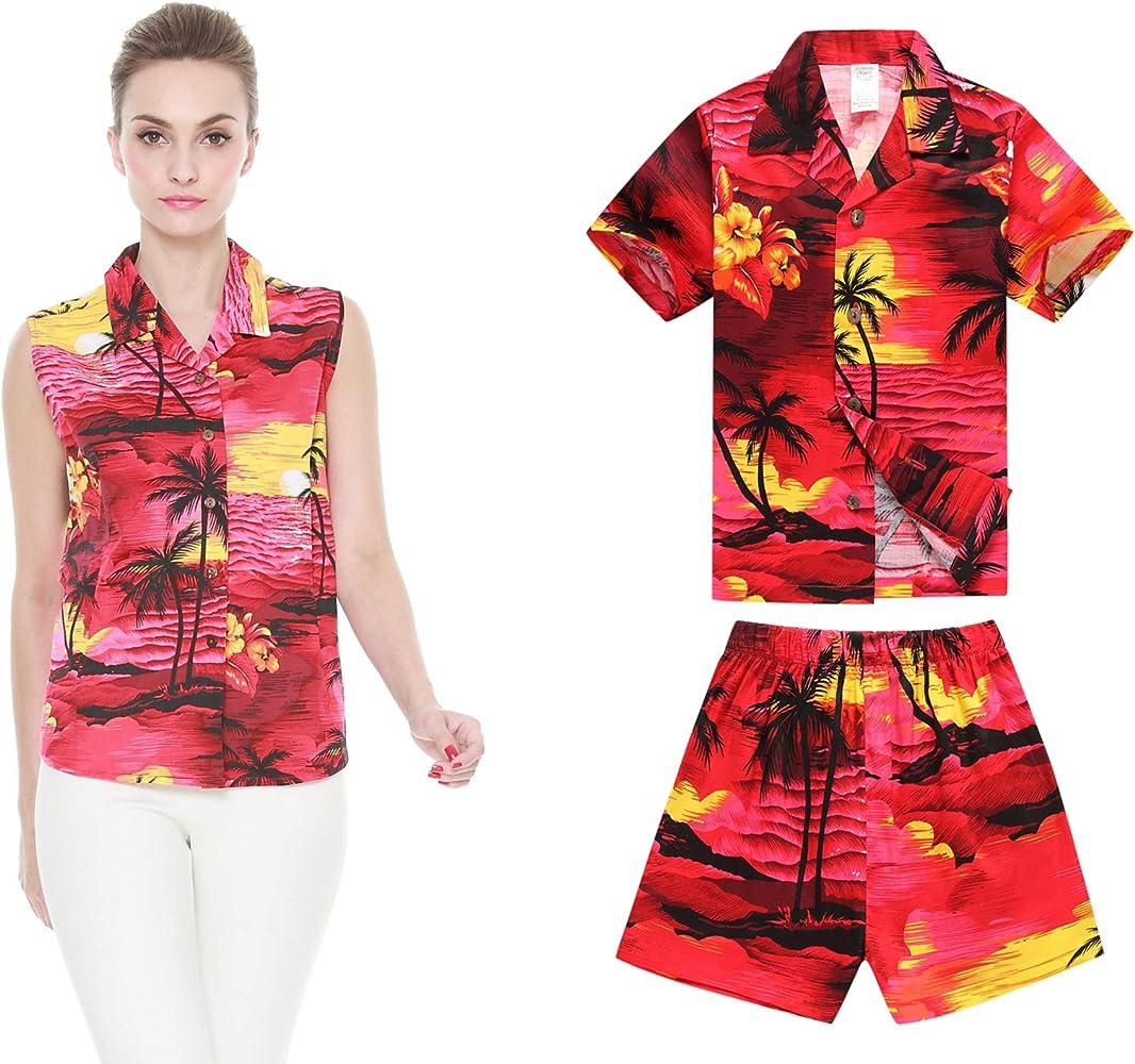 Manga Mujer Hijo Hawaiian Luau Camisa Mujer y Pantalones Cortos de Niño Puesta de Sol roja XL-8: Amazon.es: Ropa y accesorios