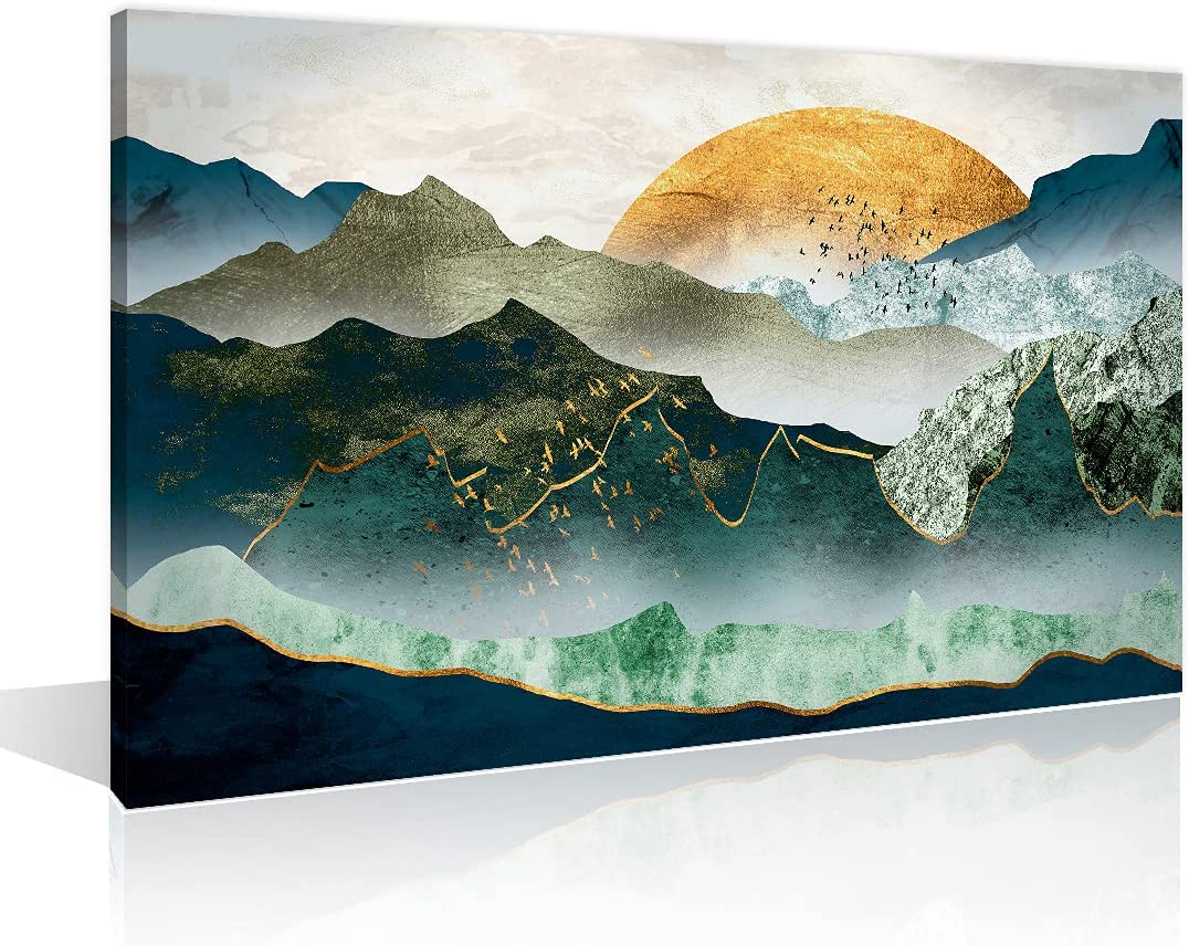 Wall Art Home Decor Abstract Mountain Pictures for Living Room Nature Landscape Canvas Art Prints Nature Scenery Painting Nordic Style Wall Decor Stretched and Framed Ready to Hang, 12