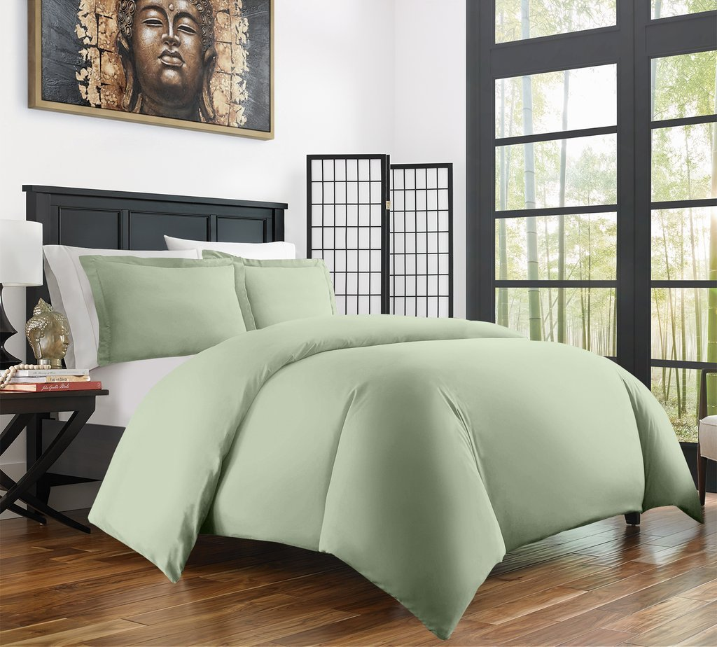 Zen Bamboo Ultra Soft 3-Piece Bamboo Derived Rayon Duvet Cover Set - Hypoallergenic and Wrinkle Resistant - Full/Queen - Olive