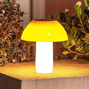 Solar Mushroom Lights Outdoor,2200mah 20Leds Waterproof Decorative Garden Solar Table Light,Brightness Adjustable Solar Post Light for Decor,Pathway,Driveway,Ponds,Patio,Yard (1 Pack)