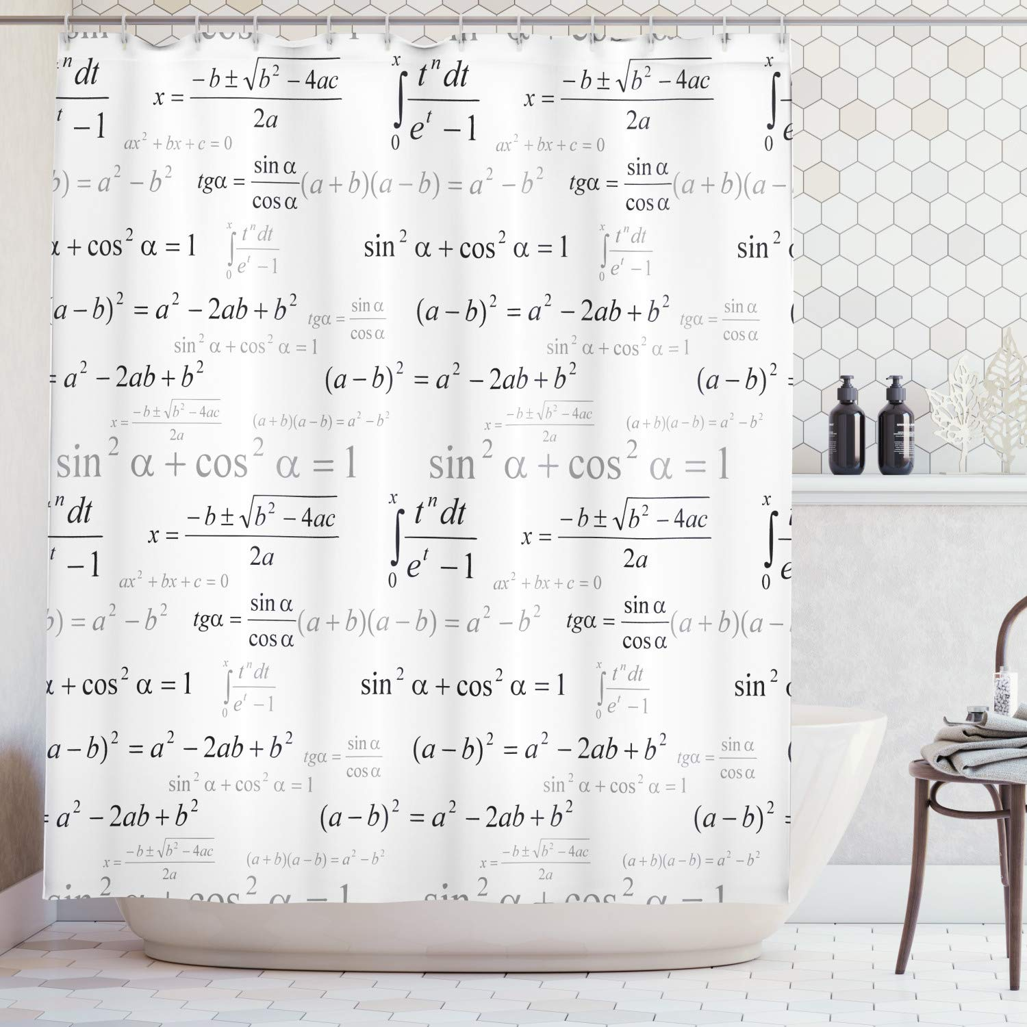 Lunarable Back to School Shower Curtain, School for Math and Geometry with Science Formulas Chalk Board Style Image, Fabric Bathroom Decor Set with Hooks, 105 Inches Extra Wide, White Black