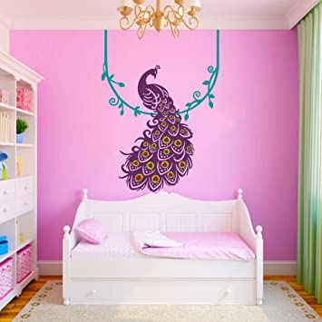 Vinyl Peacock Wall Decal Animal Wall Decal Bird Wall Decal Peafowl Art Wall  Stickers Wall Graphic Part 11