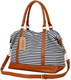 BAOSHA HB-28 Ladies Women Canvas Travel Weekender Overnight Carry-on Shoulder Duffel Tote Bag With PU Leather Strap…