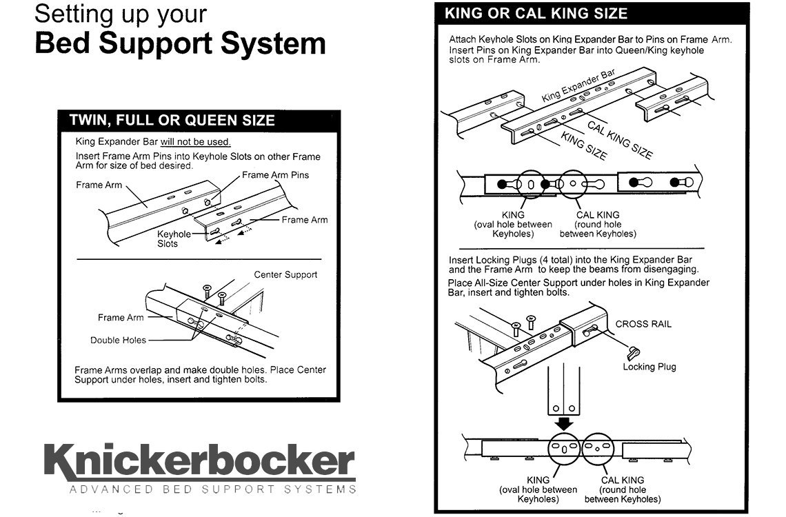Model KB2007G - Heavy Duty Metal Bed Frame w/Glides ONLY - Knickerbocker ''Monster'' Version without Wheels - 5-in-1: Twin,Full, Queen,King,California King
