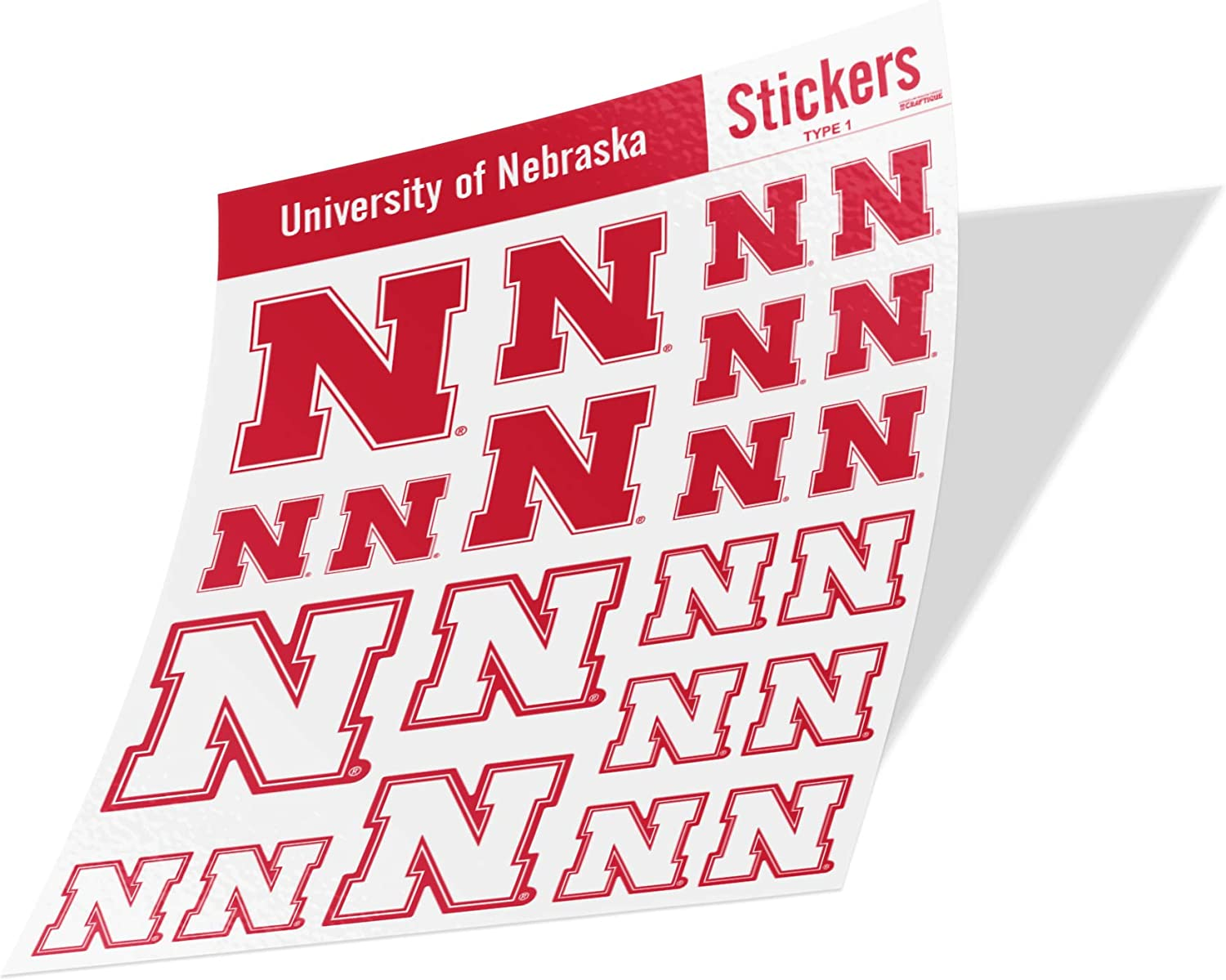 Type 1 Sheet University of Nebraska NCAA Sticker Vinyl Decal Laptop Water Bottle Car Scrapbook