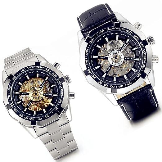 Lancardo Reloj Comercial Mecánico Automático con Dial Hueco de Metal Pulsera Casual de Moda con Correa de Acero Inoxidable para Viaje Negocios para