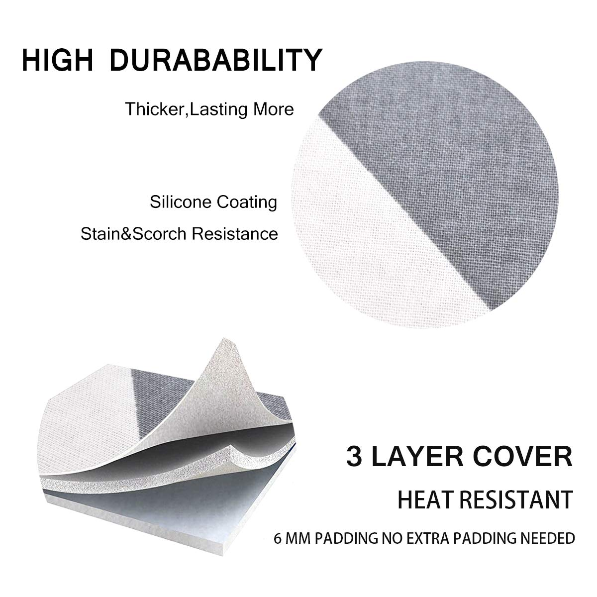 """with Pull Bungee Fit System and 3 Connecting Straps,Premium Heavy Duty 3-Layer Silicone Coated Cover,Heat Reflective Scorch Resistant SheeChung 42/""""x12/"""" Ironing Board Cover and Pad"""