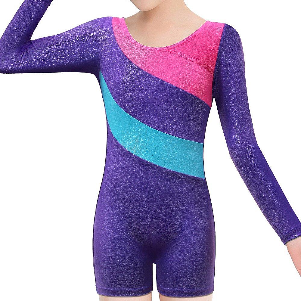 BAOHULU Toddlers Girls Gymnastics Dance Leotards-One-piece Sparkle Stripes & Stiching Athletic Clothes Purplelongsleeve 140(8-9Y)