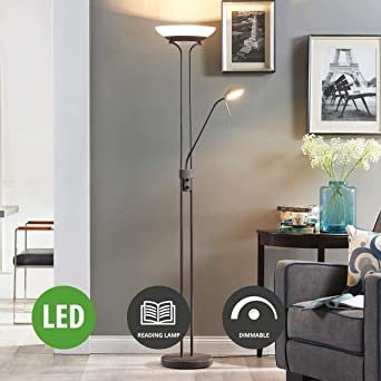 Lampenwelt Led Stehlampe Yveta Dimmbar Mit Leselampe Landhaus