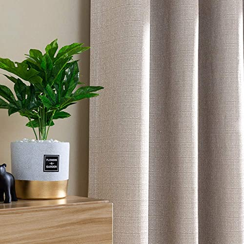 jinchan Linen Textured Jacquard Curtains for Living Room Vertical Striped Window Curtains for Bedroom Grommet Top Curtains 2 Panels 63 Beige