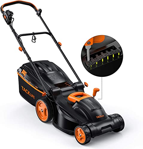 TACKLIFE Electric Lawn Mower, 10-Amp 14-Inch Lawn Mower, 6 Mowing Heights Options, 3 Control Heights Selections, Easy Folding for Space Saving, 98 Grass Collection Rate, 10.5Gal Grass Box