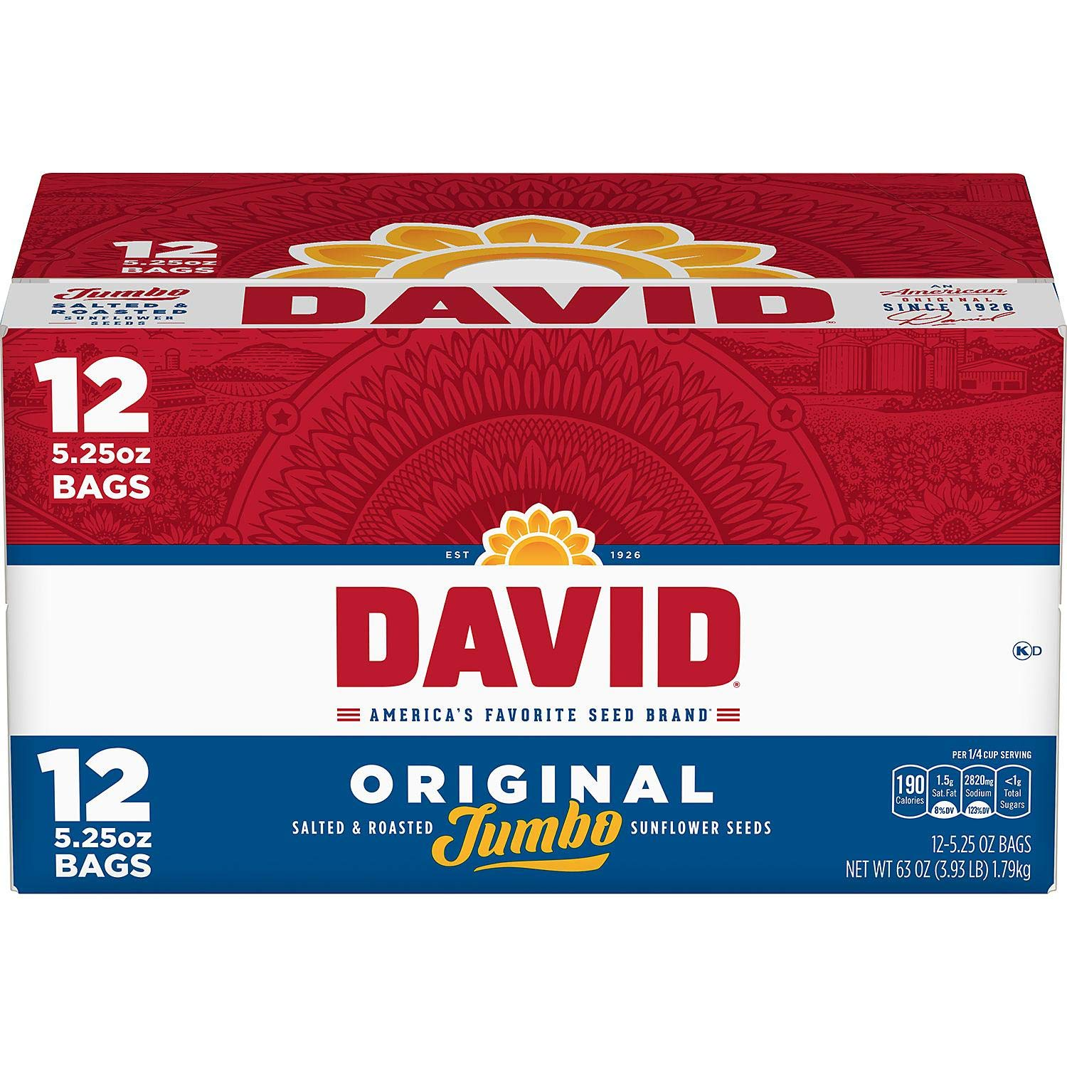 DAVID Roasted and Salted Original Sunflower Seeds, Keto Friendly, 5.25 oz, 12 Pack