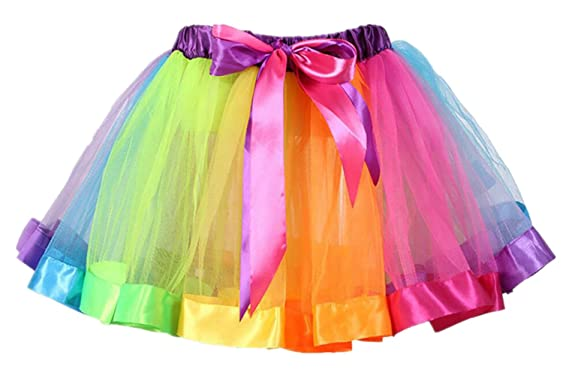 73cfaae3a Adore center Girls Layered Tutu Dresses Rainbow Tutu Skirt Bow Dance Ruffle  for 0-9 Years Old (M Suitable Age:2-4Y, Rainbow): Amazon.co.uk: Clothing