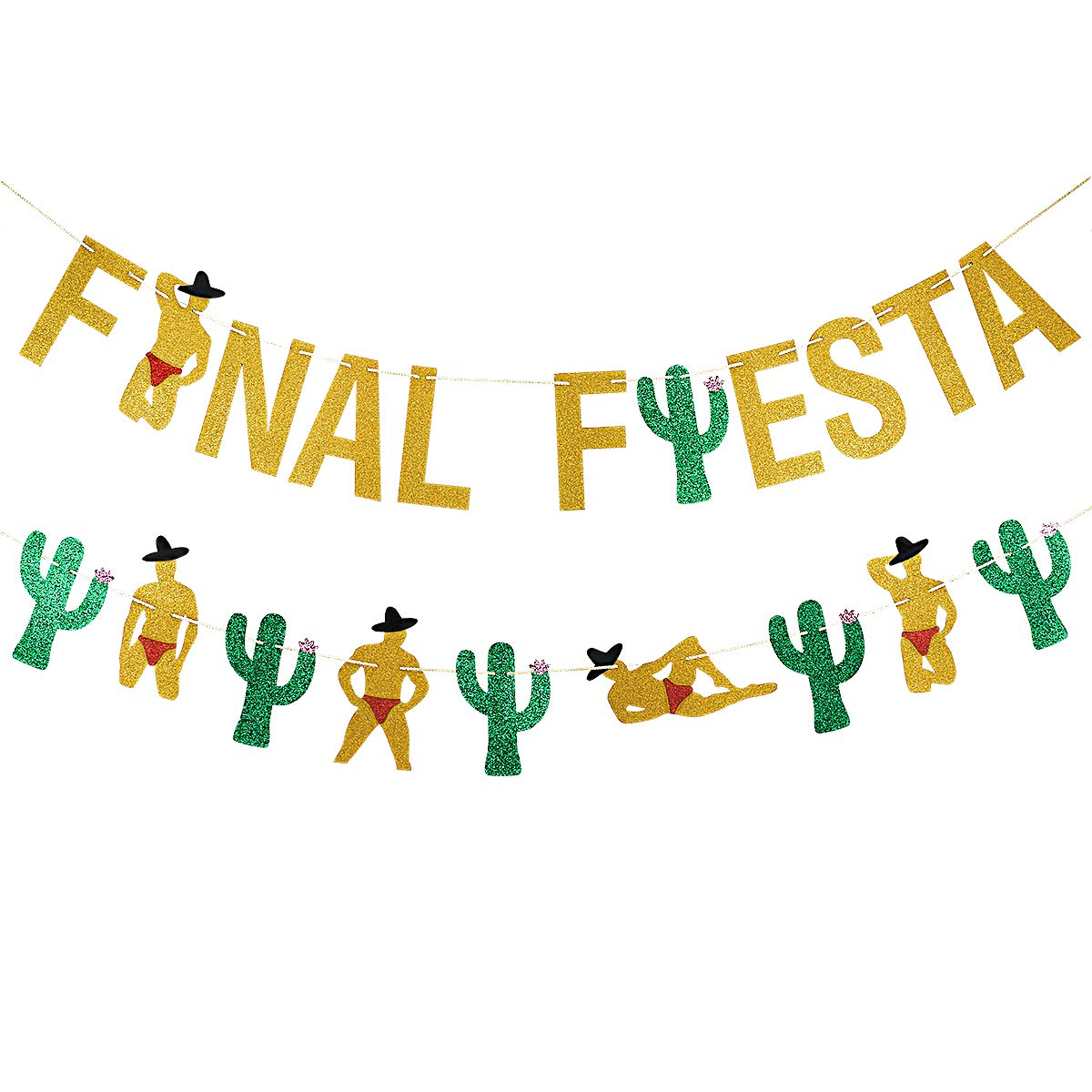 Gold Glittery Final Fiesta Banner and Glittery Cactus Man Garland- Mexican FiestaTheme Party Decor Bachelorette Wedding Party Decorations