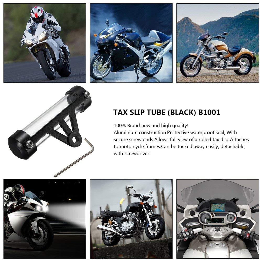 JesseBro76 Motocicleta Moto Tubo Seguro Disco de impuestos Soporte cil/índrico Impermeable Negro