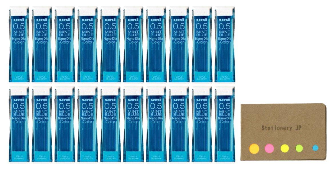 Uni NanoDia Color Mechanical Pencil Leads 0.5mm Mint Blue, 20-pack/total 400 Leads, Sticky Notes Value Set