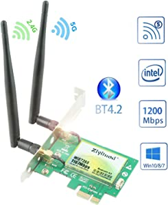 Ziyituod 1200Mbps PCIe WiFi Bluetooth Card | Intel Wireless ac-7265 | Bluetooth 4.2 | Up to 867Mbps | 5GHz PCI Wireless Network Card for Desktop PC | Support Windows 10/8/7 32,64bit(ZYT-7265)