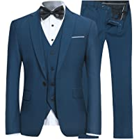 1da327ac452b3 Men's Slim Fit 3 Piece Suit One Button Blazer Tux Vest & Trousers