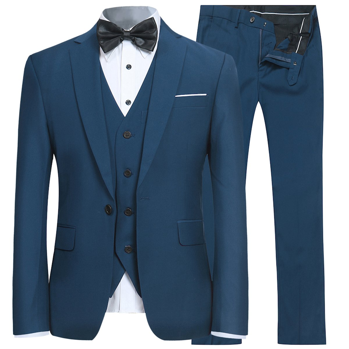 5ae0e72c79acb0 Men's Slim Fit 3 Piece Suit One Button Blazer Tux Vest & Trousers at Amazon  Men's Clothing store: