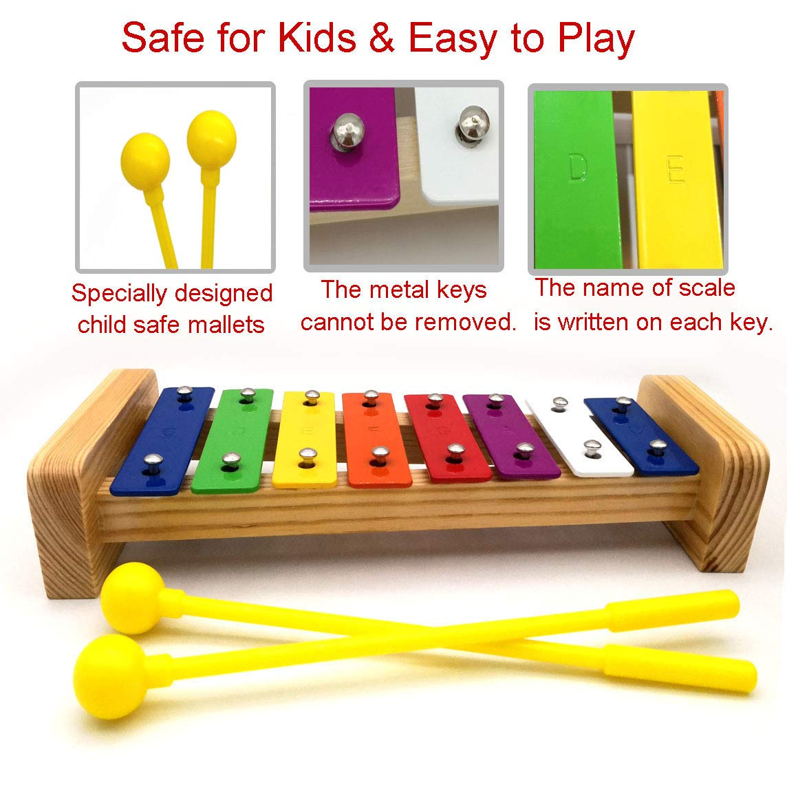 XIYITOY Xylophone for kids,The First Birthday Gift for kids 1-3 Year Old Girl,Boys,Musical Kid Toy for Kids for 4-8 Year Old Boys Gift,Whith Two Child-Safe Mallets for 2-6 Year Old for Making Fun Musi by XIYITOY (Image #4)