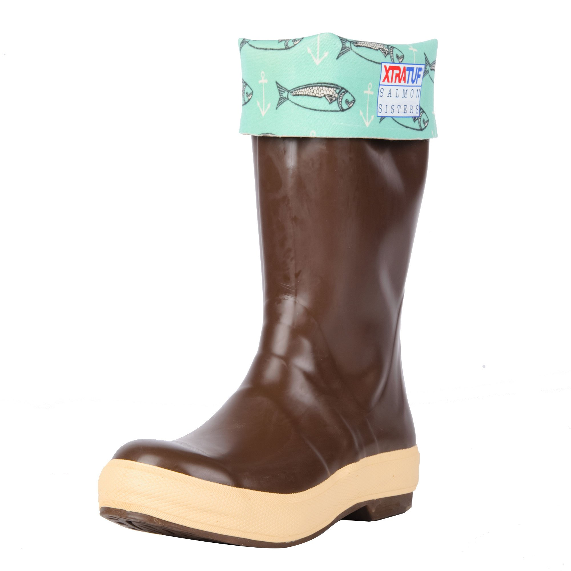 XTRATUF Salmon Sisters Legacy Series 15'' Fish Print-Lined Neoprene Women's Fishing Boots, Copper & Tan (22390)