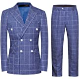YFFUSHI Mens Plaid 3 Piece Suits Double Breasted Retro Slim Dress