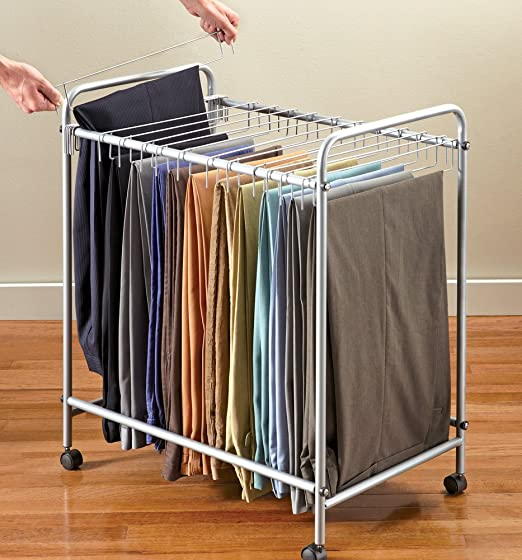 Everything Jingle Bell Rolling Pants Trolley Hanger Slacks Organizer Rack Organize Clothes Dress 18pr