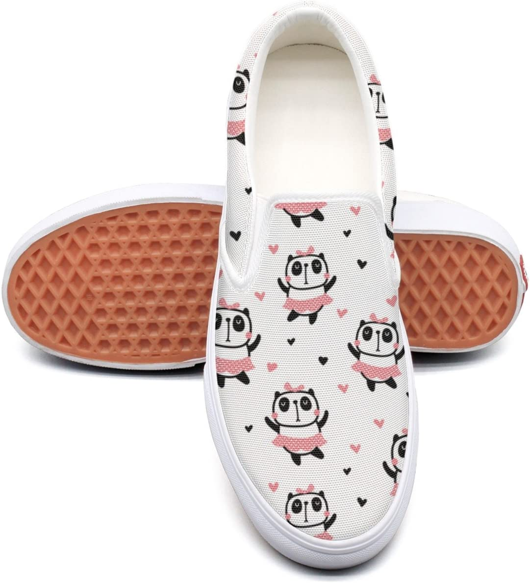 seventtynine Dancing Panda Bear Classic Womens Canvas Slip-Ons Loafer Shoes Sneaker