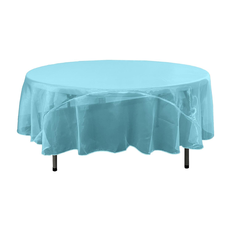 Ivory TCOrgz72R/_IvoryO25 LA Linen Sheer Mirror Organza Round Tablecloth 72-Inch