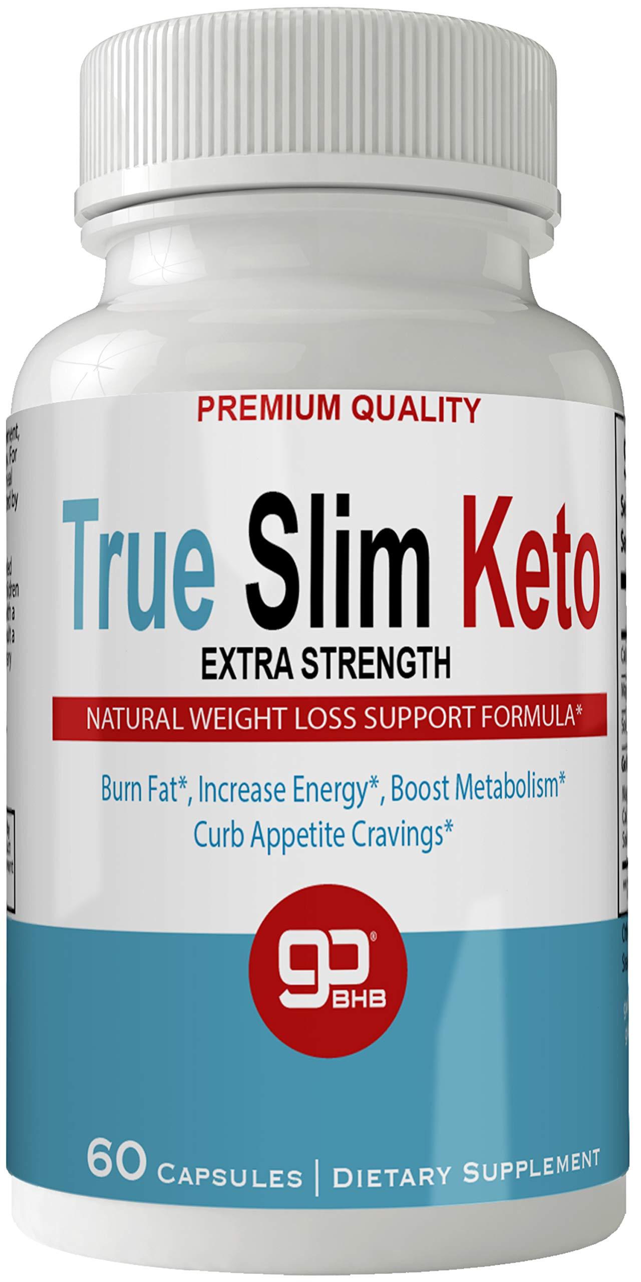TrueSlim Keto Weight Loss Pills, Extreme Natural Ketogenic Burn Fat Supplement, 800 mg Formula with New True Slim GO BHB Salts Formula, Advanced Appetite Suppressant Capsules