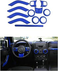 Opall Full Set Interior Decoration Trim Kit Steering Wheel & Center Console Air Outlet Trim, Door Handle Cover Inner For Jeep Wrangler JK JKU 2011-2018 2 Door &4-Door (Blue 12PCS)