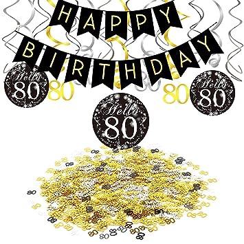 SIMUER 80 cumpleaños Negro Colgar Remolino decoración de ...